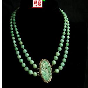 美国回流 直邮:巨大14K金镶清民翡翠雕件+翡翠圆珠项链