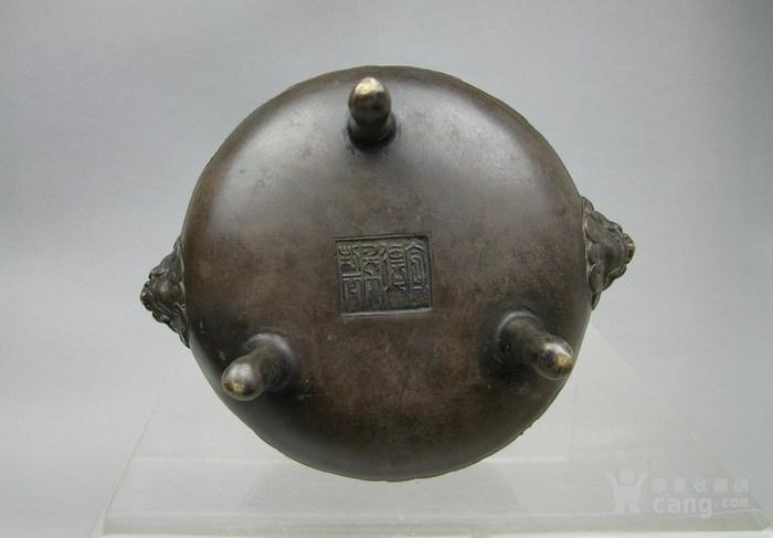 清代   三足双耳开窗带红木盖镶嵌红玛瑙铜香炉『聚古斋』图8