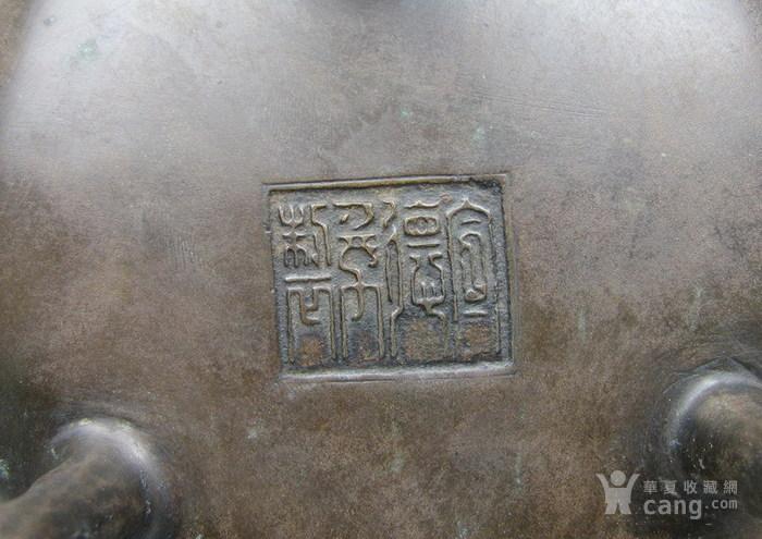 清代   三足双耳开窗带红木盖镶嵌红玛瑙铜香炉『聚古斋』图9