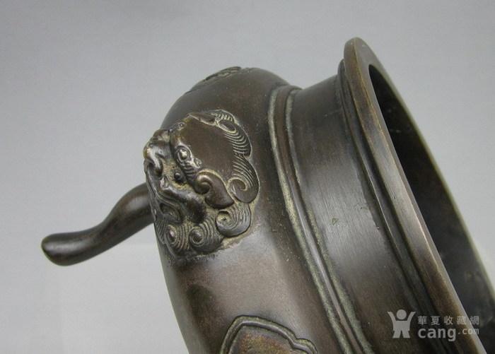 清代   三足双耳开窗带红木盖镶嵌红玛瑙铜香炉『聚古斋』图12