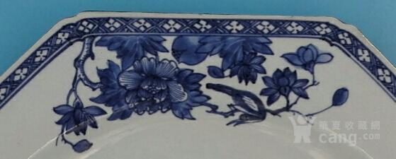 乾隆荷叶牡丹纹八角青花大盘(35cm,海外回流)图4