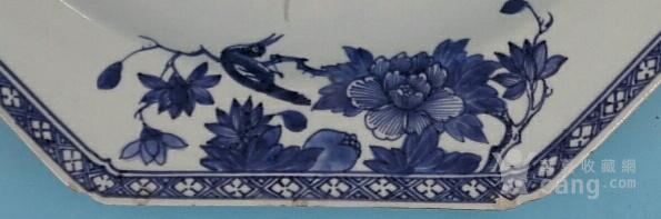 乾隆荷叶牡丹纹八角青花大盘(35cm,海外回流)图5