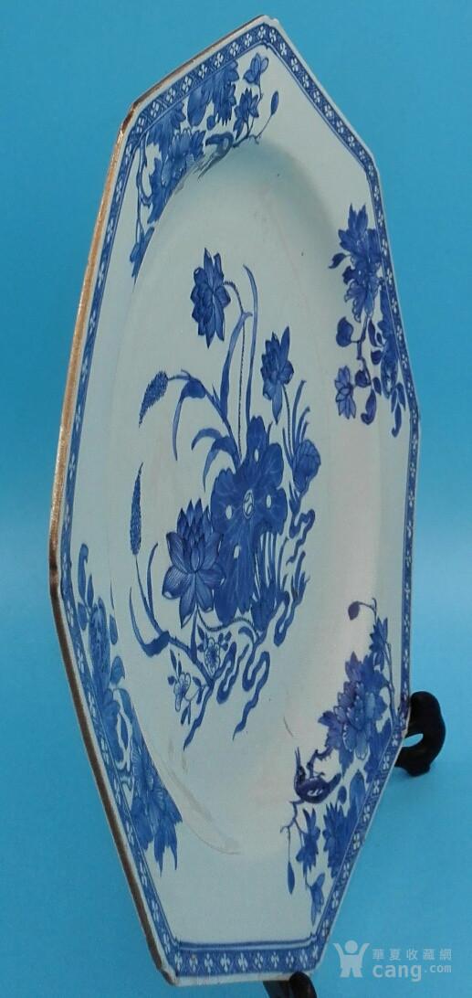 乾隆荷叶牡丹纹八角青花大盘(35cm,海外回流)图9