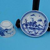 雍正青花山水人物纹茶盏一套