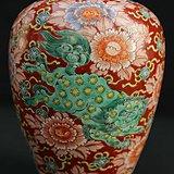 清光绪红釉地矾红描金三世同堂纹梅瓶
