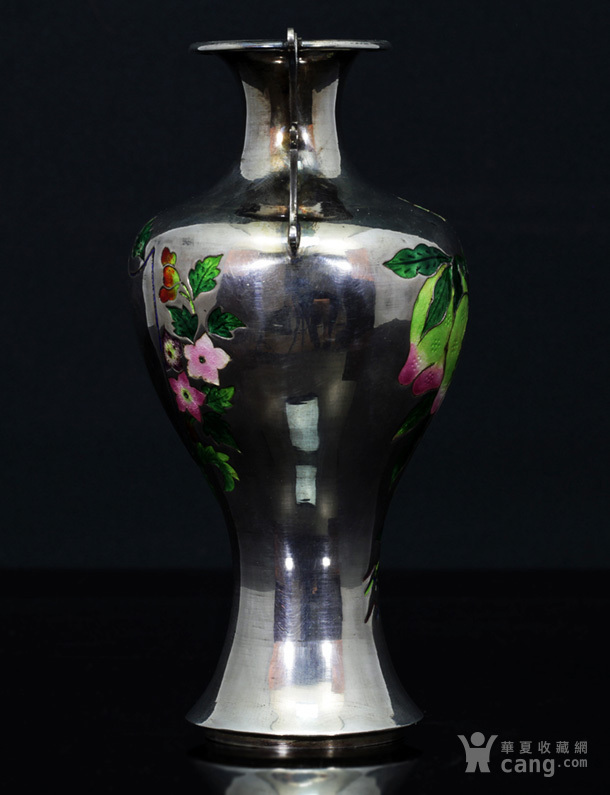清代 银胎 珐琅 精品 赏瓶 一只。图4