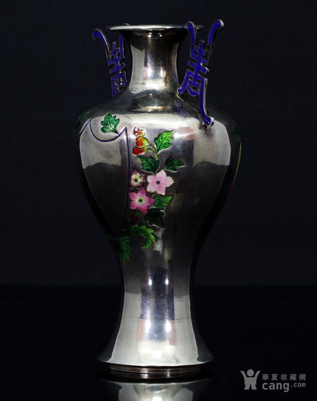 清代 银胎 珐琅 精品 赏瓶 一只。图5