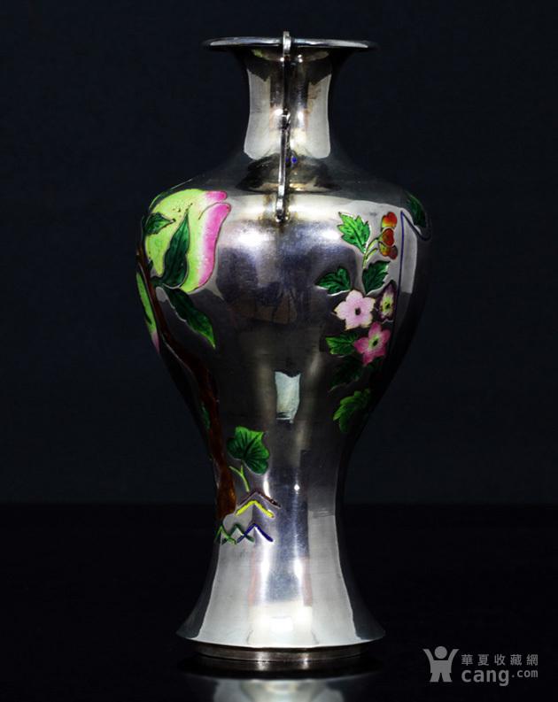 清代 银胎 珐琅 精品 赏瓶 一只。图8