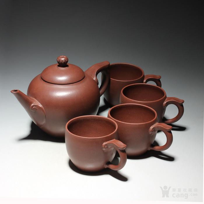 宜兴紫砂壶 早期全手工老茶壶 台湾回流 吉祥如意套装图1