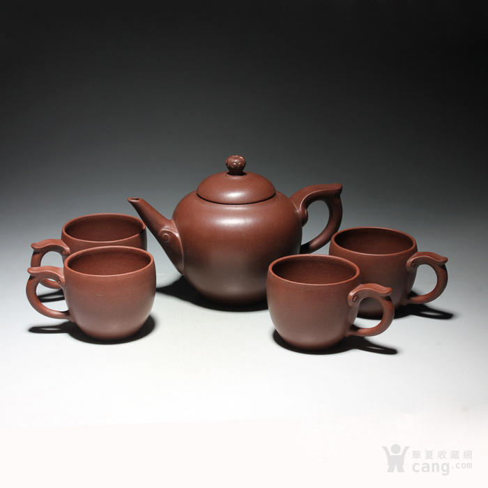 宜兴紫砂壶 早期全手工老茶壶 台湾回流 吉祥如意套装图2