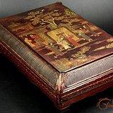 十四世纪末--15世纪初描金彩漆螺钿倭角阁楼人物长方盒