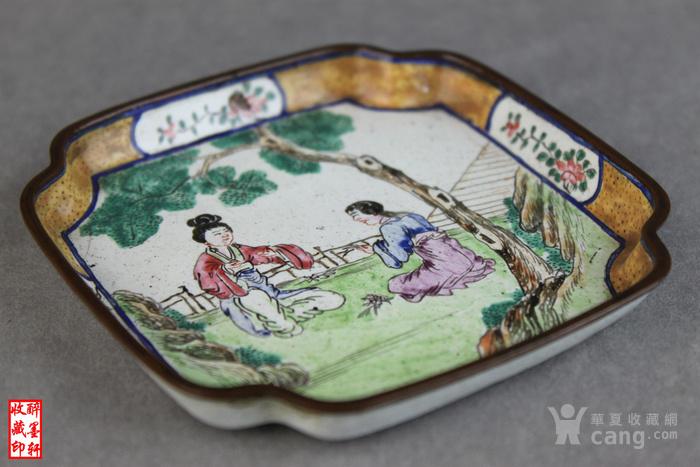 清乾隆铜胎画珐琅绘人物文玩盘 醉墨轩图2