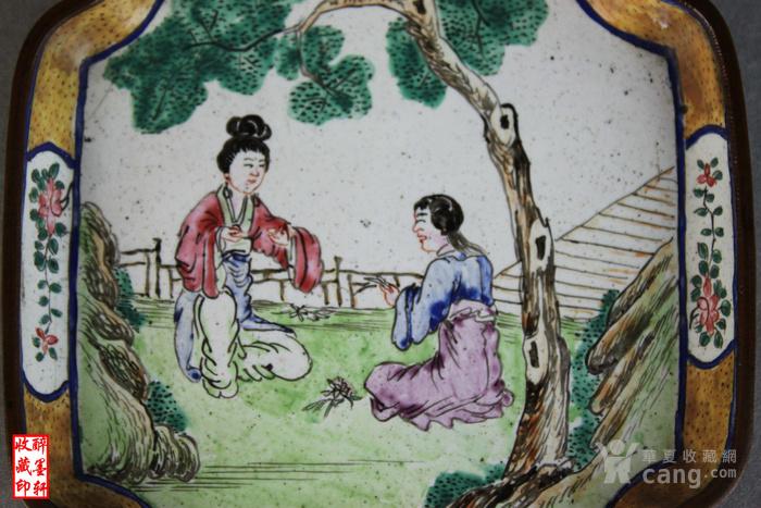 清乾隆铜胎画珐琅绘人物文玩盘 醉墨轩图3