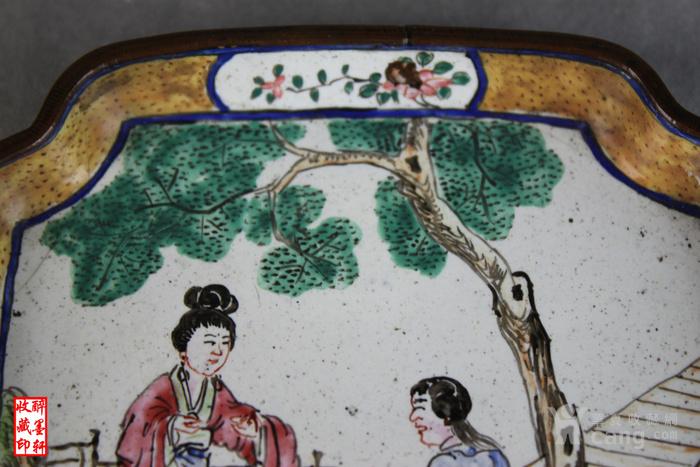 清乾隆铜胎画珐琅绘人物文玩盘 醉墨轩 图4