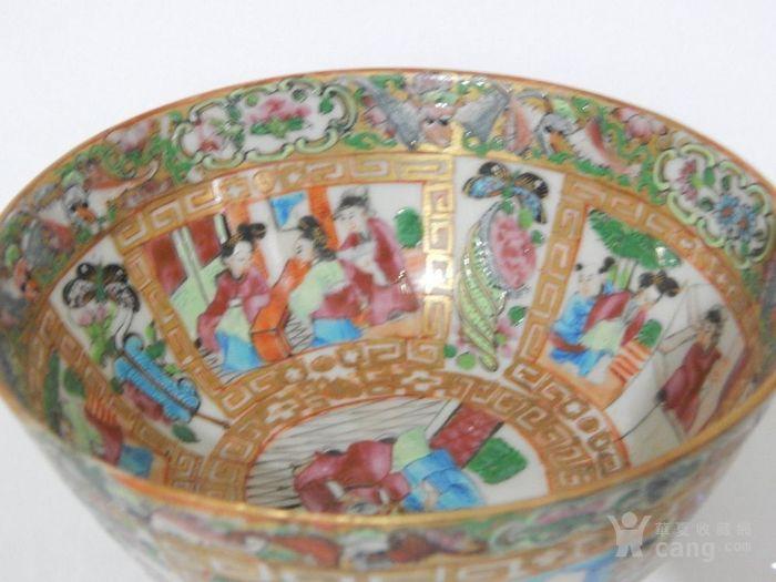 清中期广彩花卉人物故事纹碗图片