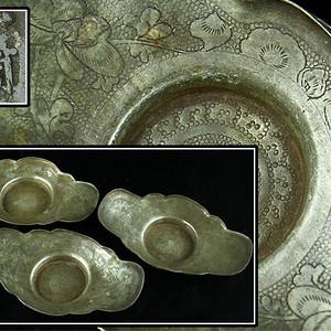 122名古品-道口点铜(同)老锡大茶托杯托三客