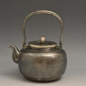 012日本银壶茶道水壶-中古造-纯银打出汤沸(750克)