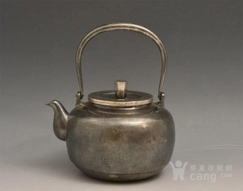 012日本银壶茶道水壶-中古造-纯银打出汤沸(750克)图1