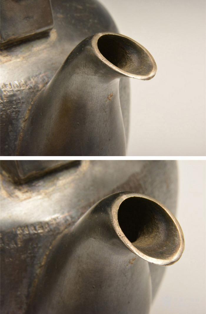 012日本银壶茶道水壶-中古造-纯银打出汤沸(750克)图4