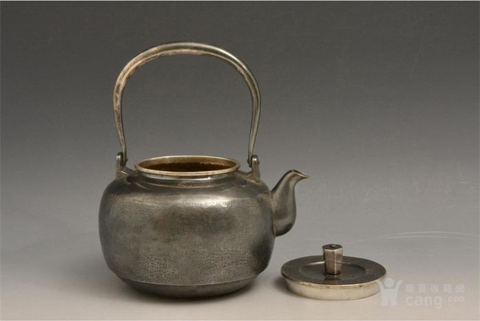 012日本银壶茶道水壶-中古造-纯银打出汤沸(750克)图3