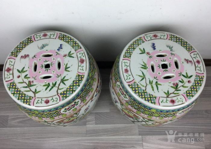清代粉彩绘五福捧寿瓷鼓凳一对图5