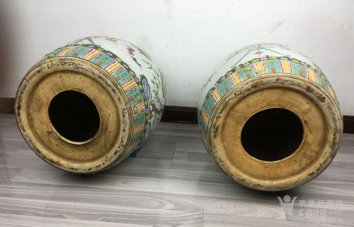 清代粉彩绘五福捧寿瓷鼓凳一对图6
