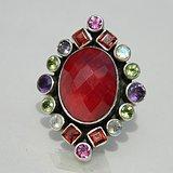 印第安河回流*近代多宝水晶,红宝石戒指