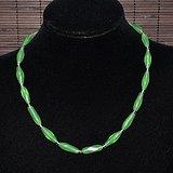 老林管形绿水晶项链