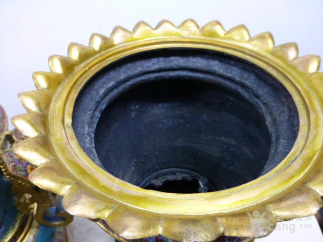 清代铜胎珐琅鎏金如意尊一对图10