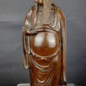 酸枝红 木雕关公像