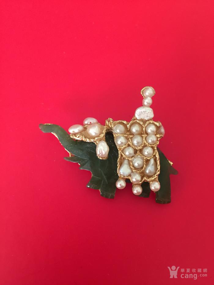 美国回流兴业坊  美国著名品牌SOWODA碧玉珍珠胸针图1