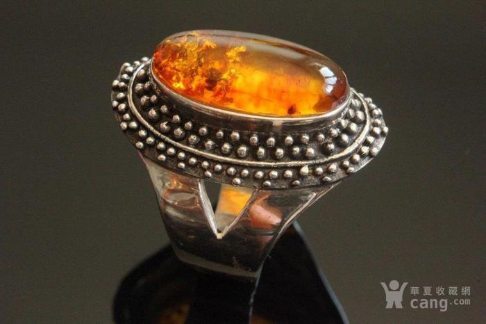 欧洲老首饰 纯银琥珀大戒指8g别具一格细腻手工打制手饰男女可图1