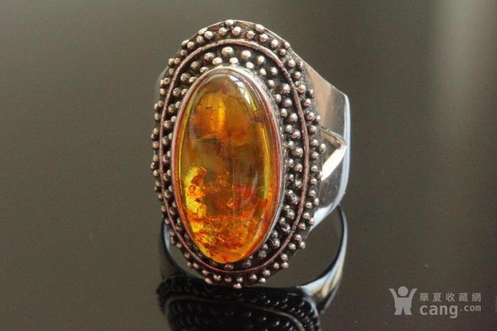 欧洲老首饰 纯银琥珀大戒指8g别具一格细腻手工打制手饰男女可图2