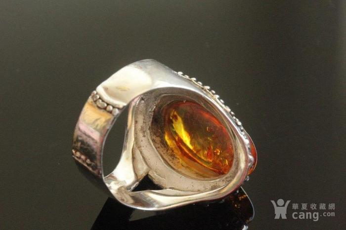 欧洲老首饰 纯银琥珀大戒指8g别具一格细腻手工打制手饰男女可图3