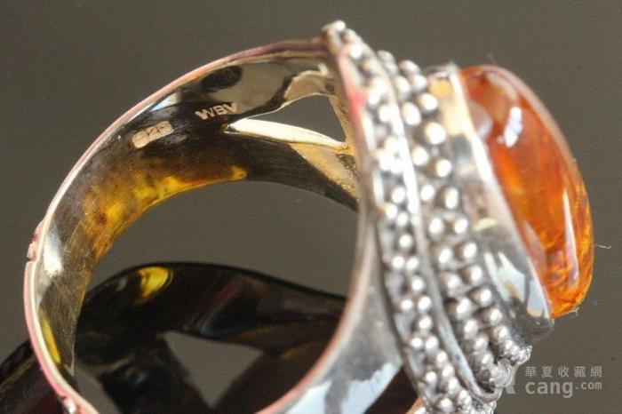 欧洲老首饰 纯银琥珀大戒指8g别具一格细腻手工打制手饰男女可图7