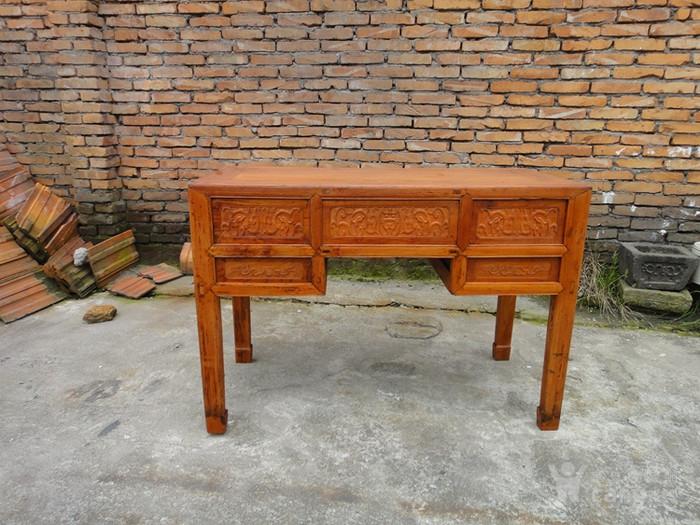 抽愹.,9��yl���_民国榉木三抽书桌 文玩桌 老家具 旧写字桌 中式旧家具