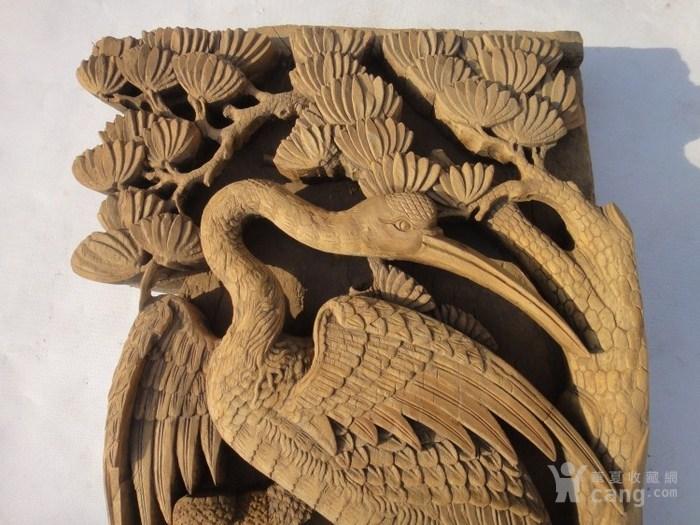 清代雕刻仙鹤松树 老木雕老雕件 老古玩老古董 明清收藏
