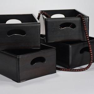 100老檀木双弧开窗长方文盘木盒四个