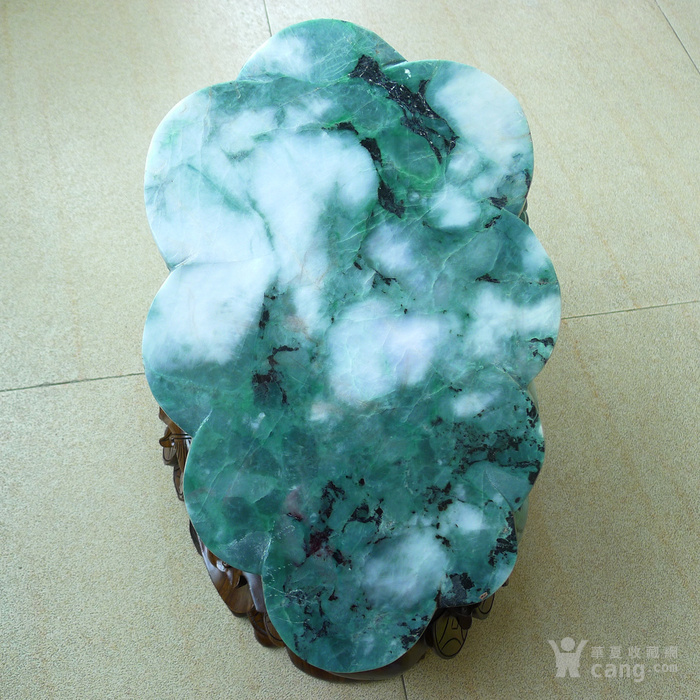 老坑冰润满绿精雕辈辈发财大金蟾摆件送豪华底座图6