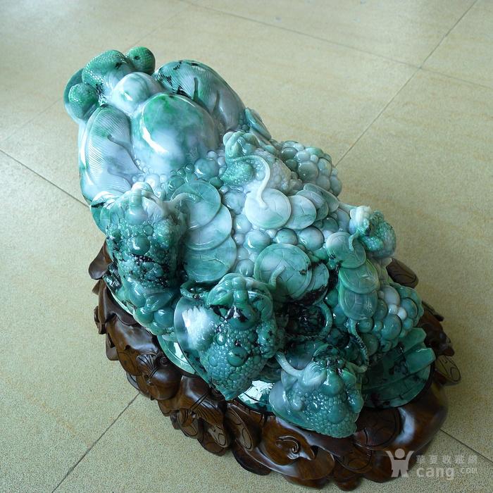 老坑冰润满绿精雕辈辈发财大金蟾摆件送豪华底座图3