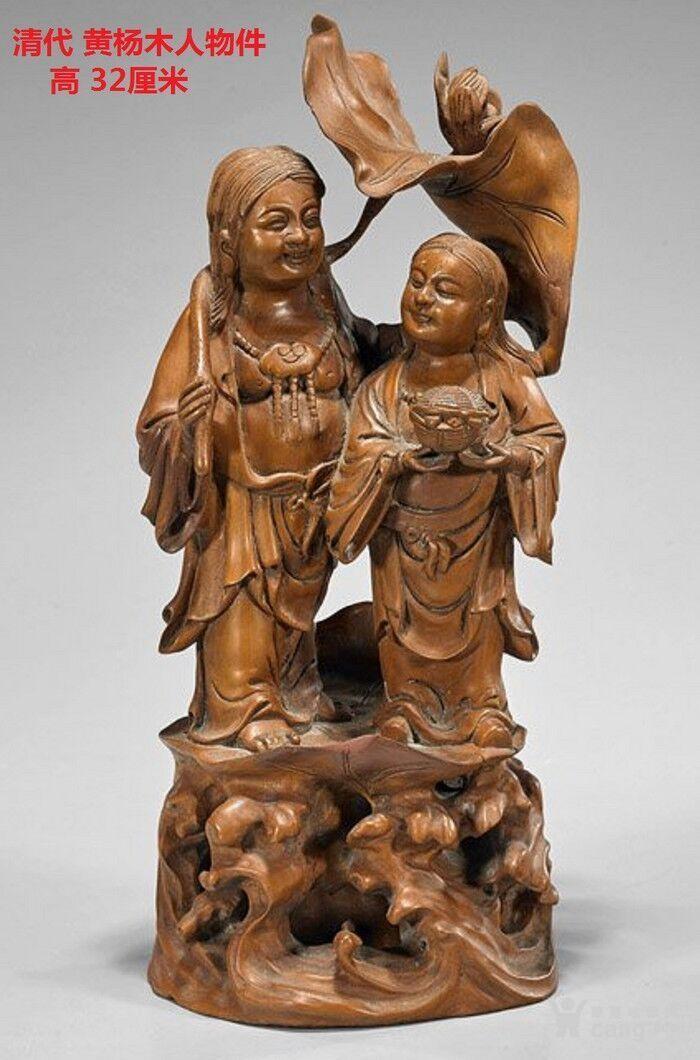 清代  小叶黄杨木雕 和合二仙 高32厘米图1