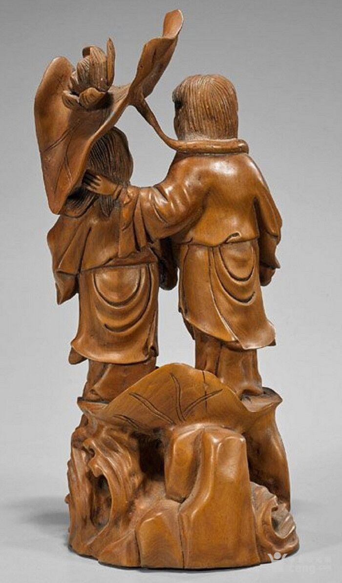 清代  小叶黄杨木雕 和合二仙 高32厘米图2