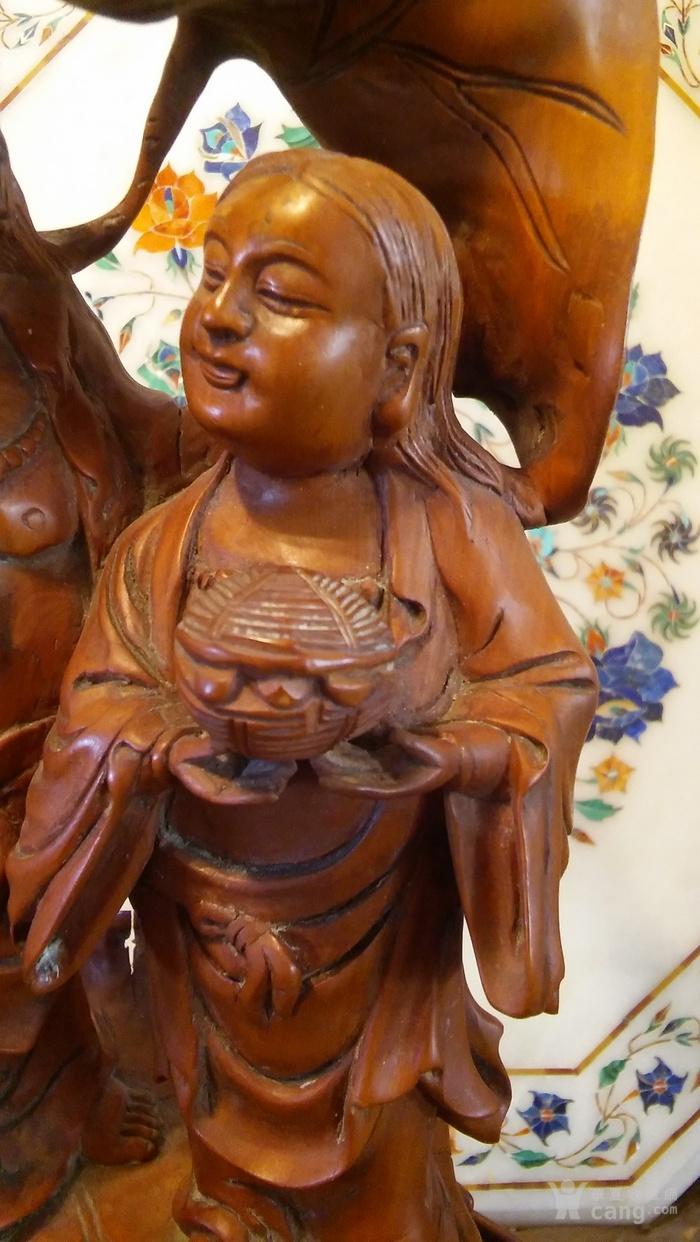 清代  小叶黄杨木雕 和合二仙 高32厘米图3