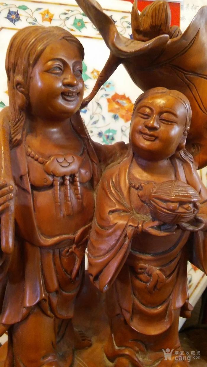 清代  小叶黄杨木雕 和合二仙 高32厘米图4