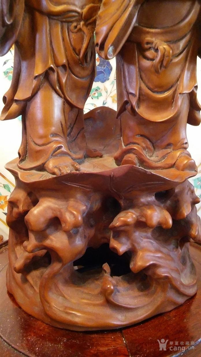 清代  小叶黄杨木雕 和合二仙 高32厘米图5