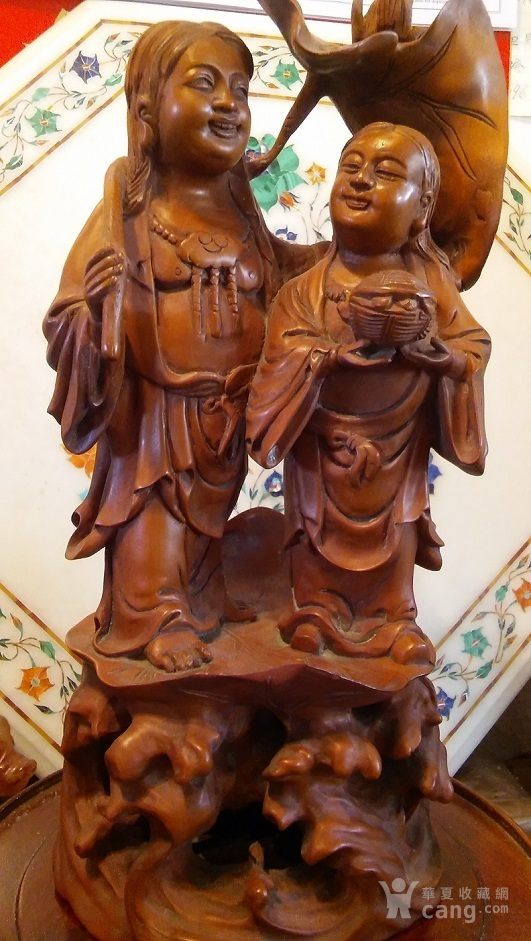 清代  小叶黄杨木雕 和合二仙 高32厘米图6
