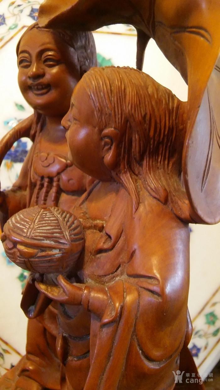 清代  小叶黄杨木雕 和合二仙 高32厘米图7