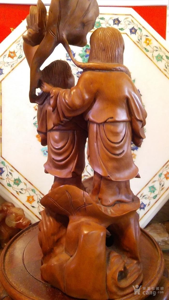 清代  小叶黄杨木雕 和合二仙 高32厘米图9