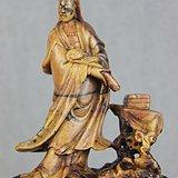 清代寿山石巧色雕手持如意观音立像 醉墨轩