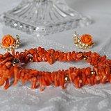 海外回流天然红珊瑚项链耳环套装